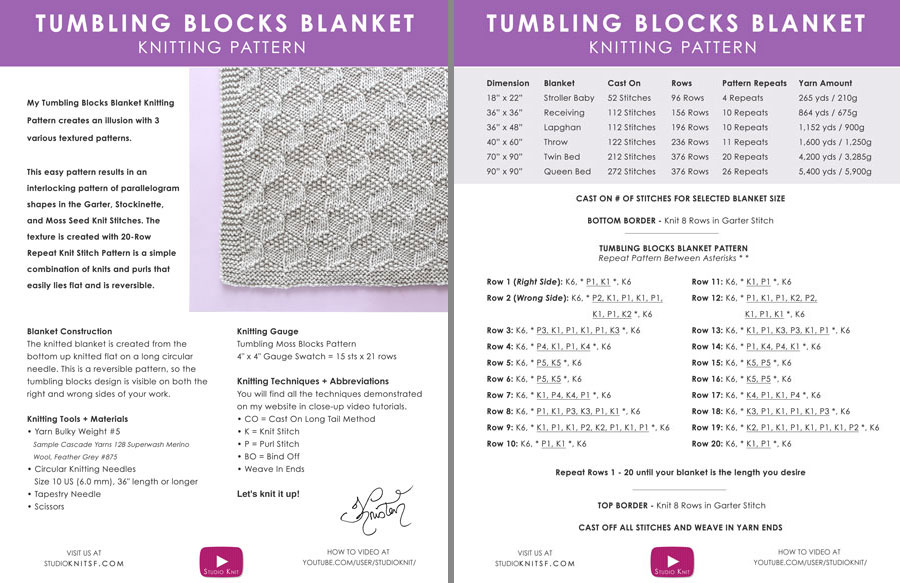 Printable Knitted Blanket Pattern in Tumbling Blocks Stitch