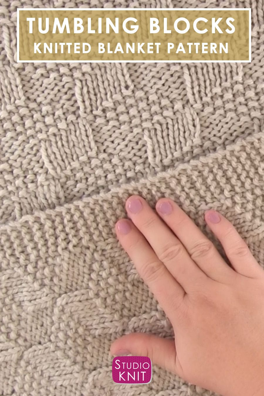 Knitted Blanket in Tumbling Moss Blocks Stitch draped with hand
