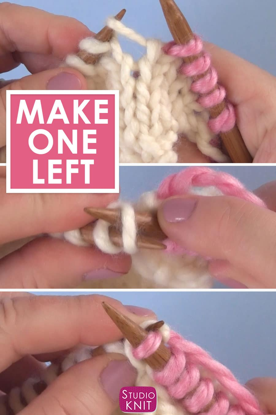 Left Knitting Increase Steps with yarn and knitting needles