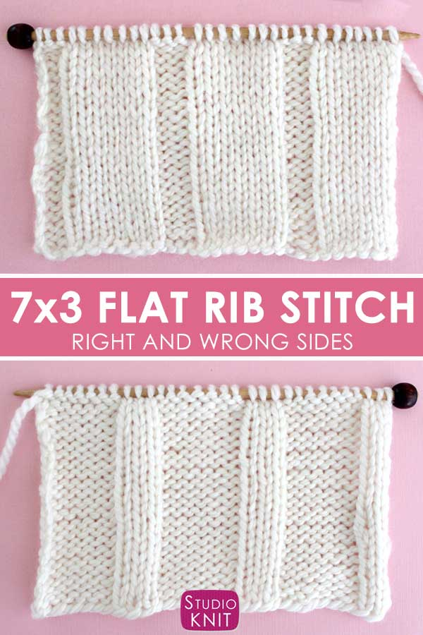 7x3 Flat Rib Stitch Knitting Pattern