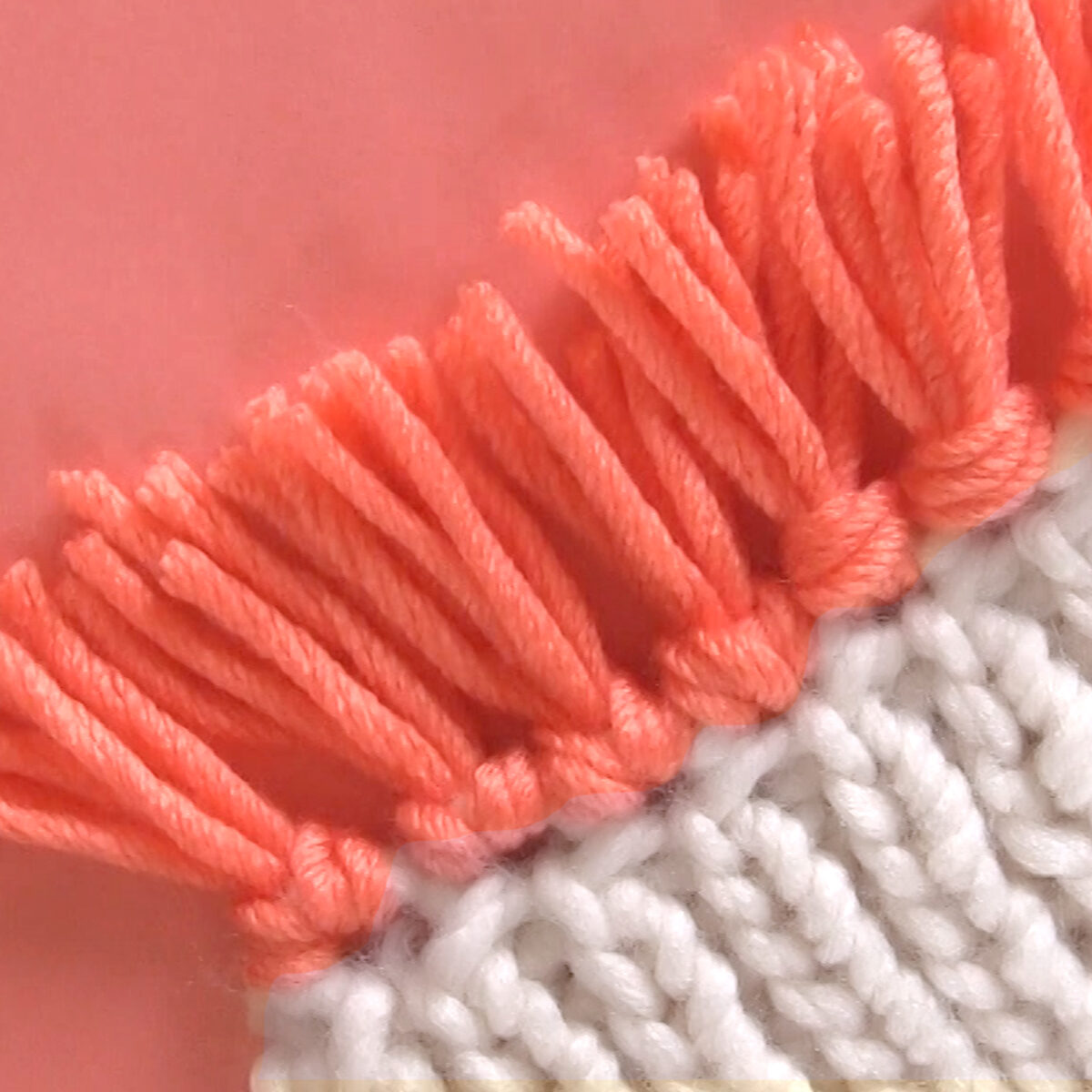 Two-Row Bind Off knitting technique with fringe