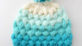 Bubble Beanie Hat in blue yarn shades