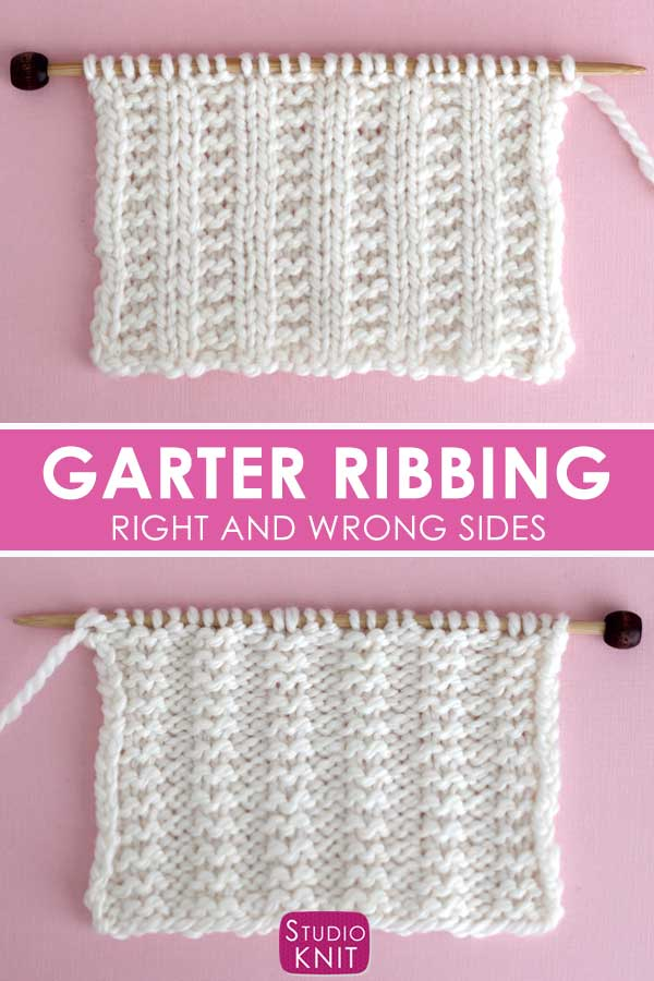 Right and Wrong Sides of Garter Ribbing Stitch Knitting Pattern