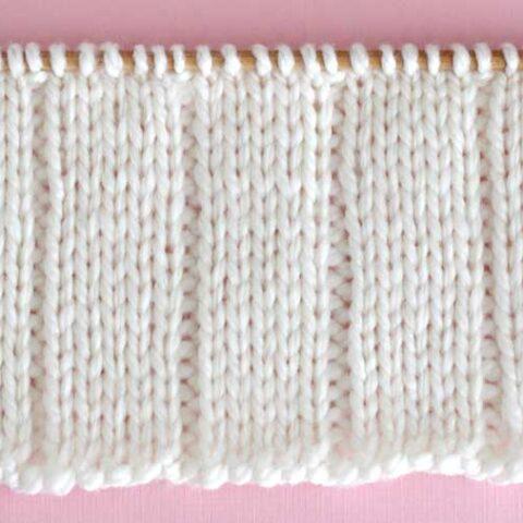 Knitted Swatch of 5x1 Flat Rib Stitch Pattern