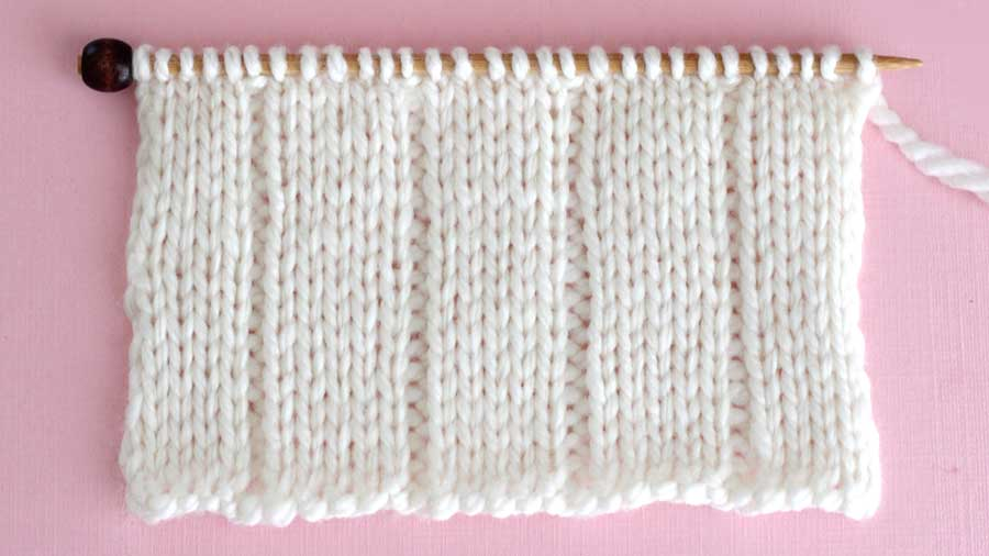 Knitted Swatch of 5x1 Flat Rib Stitch Pattern