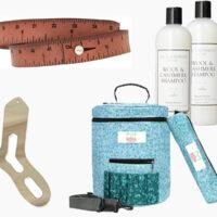 Knitting Gift Guide with needle gauge, organizer, yarn bowl, sock blockers, yarn bag, wrist measuring tape bracelet, and wool shampoo
