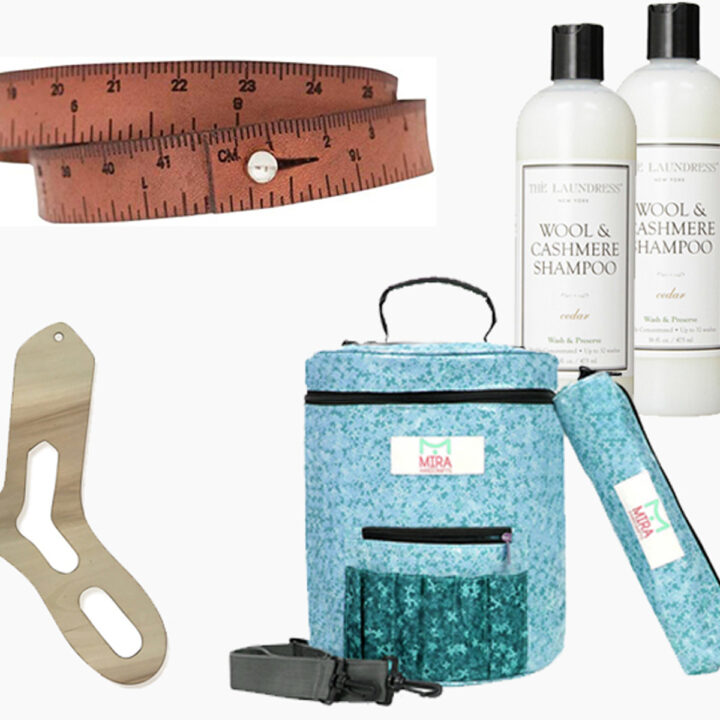 Knitting Gift Guide with needle gauge, organizer, yarn bowl, sock blockers, yarn bag, wrist measuring tape bracelet, and wool shampoo