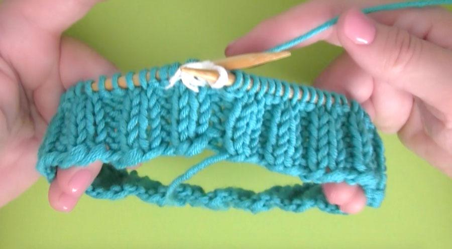 Bubble Beanie Hat Brim in blue yarn in 2x2 Rib Stitch Pattern