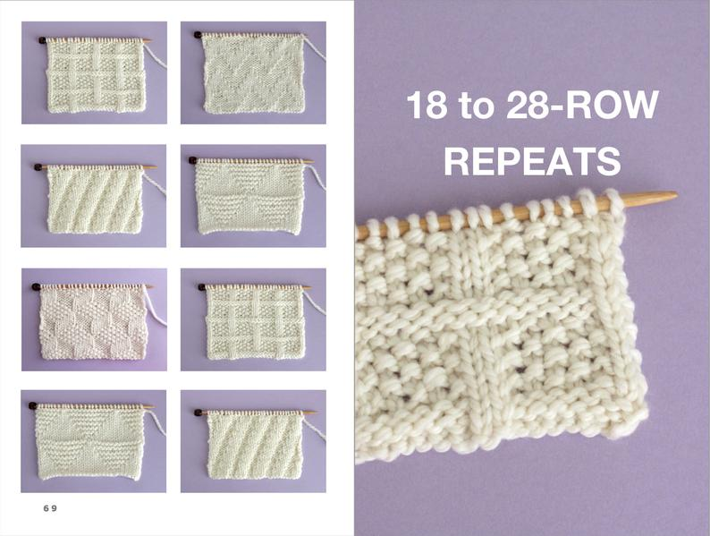 18 TO 28 ROW REPEATS with knitting stitch samples in white yarn on purple background