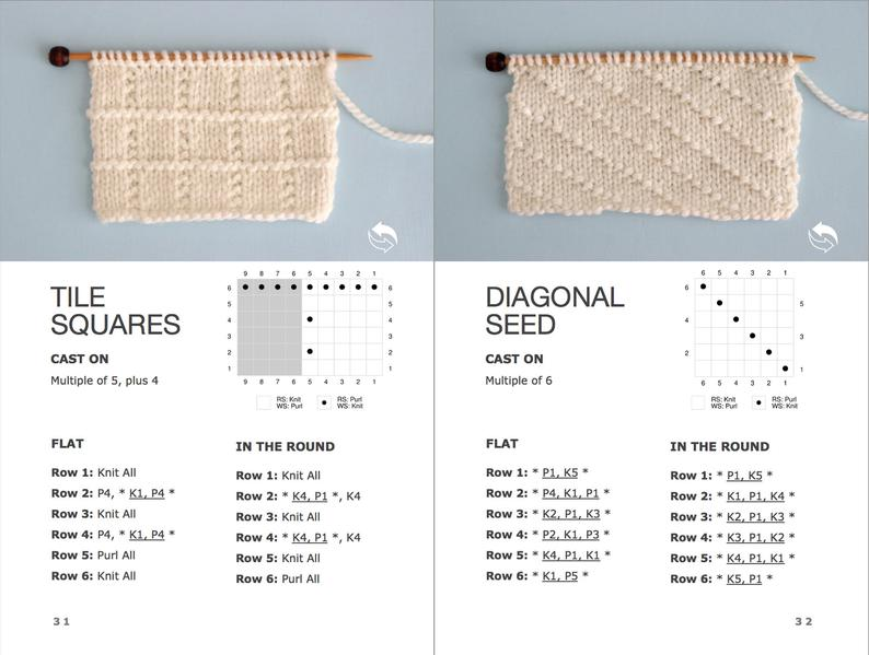 Tile Squares and Diagonal Seed Stitch patterns with written knitting instructions and chart
