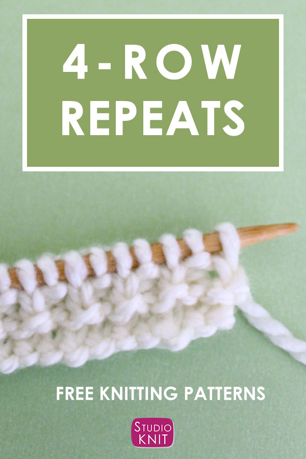 4-Row Repeats Knit Stitch Pattern with white yarn on singular knitting needle on a green background