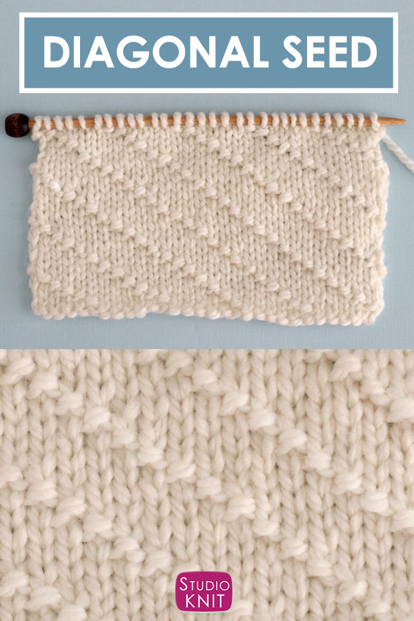 Diagonal Seed Stitch Knitting Pattern
