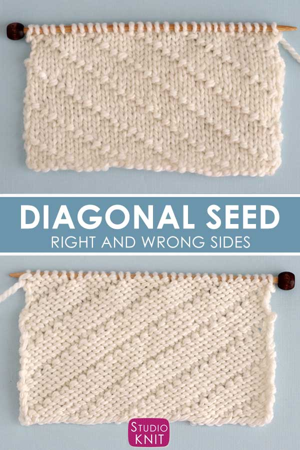 Diagonal Seed Stitch Knitting Pattern Right and Wrong Sides