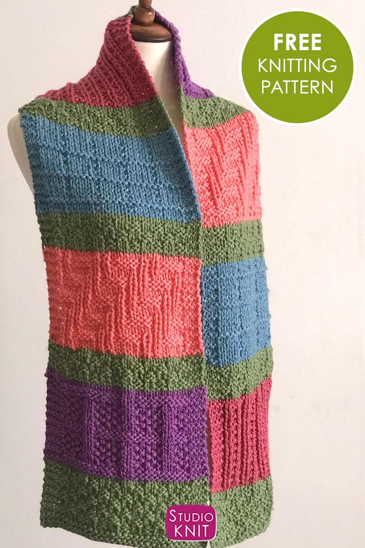 Sampler Color Block Scarf Knitting Pattern