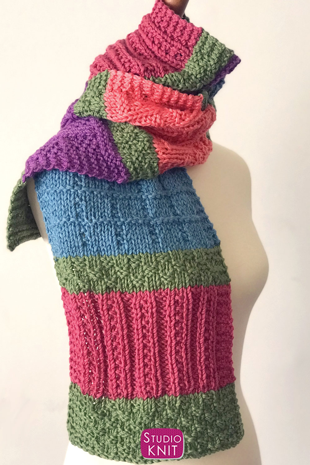 Color Block Scarf Knitting Pattern