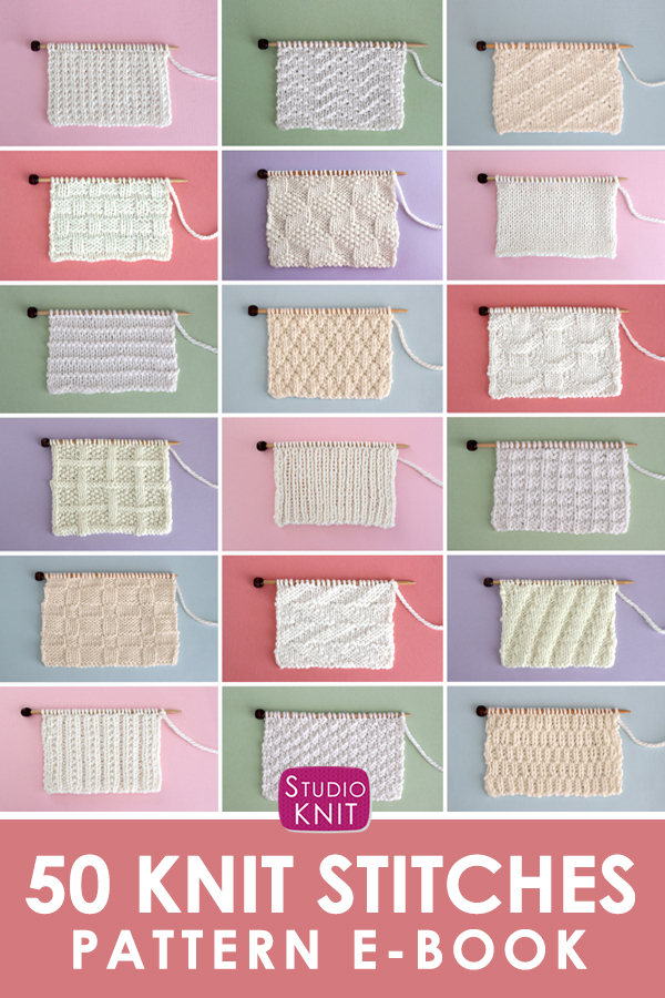 50 Knit Stitches Pattern E-Book with samples of textured knitting atop colorful backgrounds