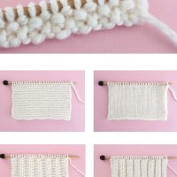 Stitch Swatches of Easy Knitting Stitches on a Needle with White Yarn