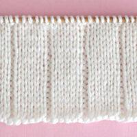 Knit 5x1 Rib Stitch Pattern with white color yarn on straight knitting needle.