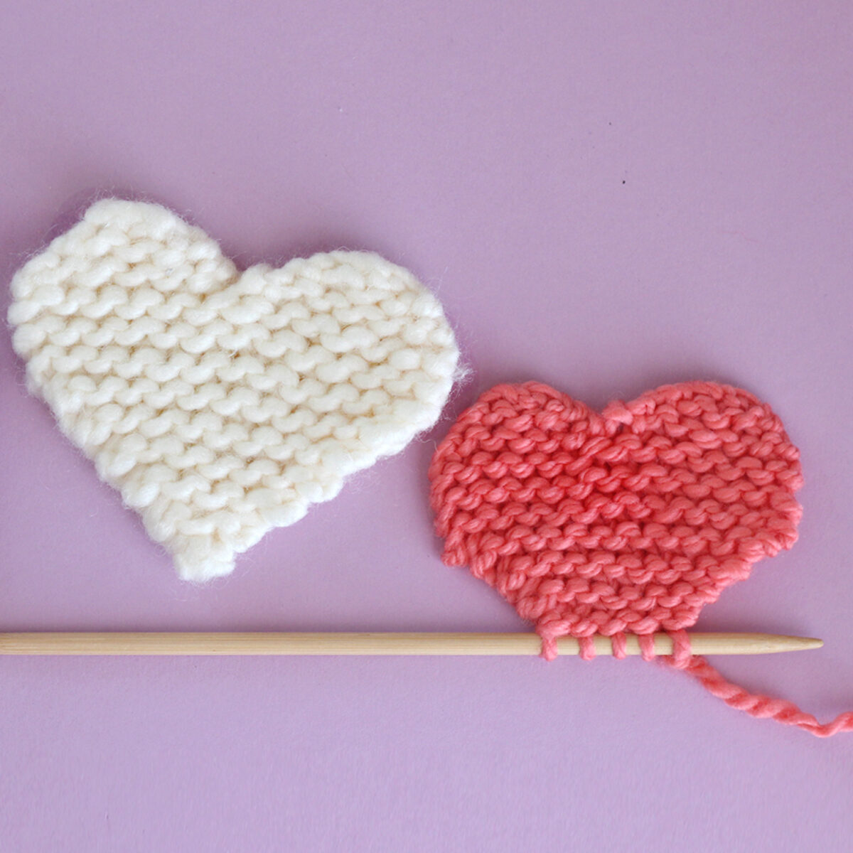 knitted heart shapes in garter stitch pattern