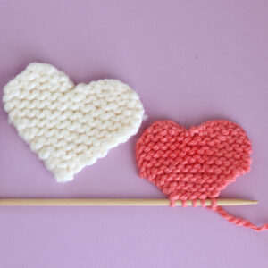 two knitted hearts in garter stitch