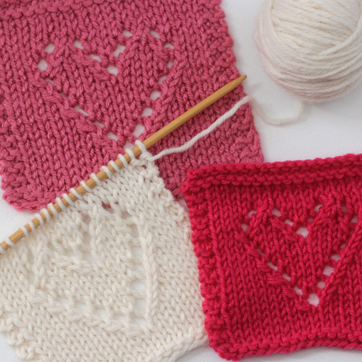 Lace Heart Knit Stitch Pattern squares in white, pink, and red yarn colors.