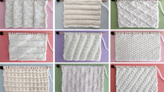 Collection of 15 knit stitch pattern textures in white yarn on knitting needles