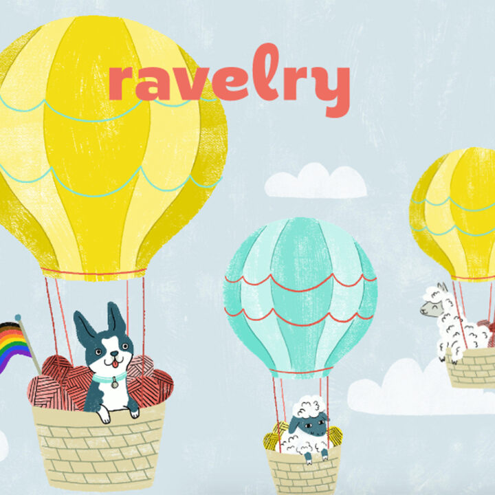 Ravelry Website Home Page with cartoon drawing of animals in hot air balloons.