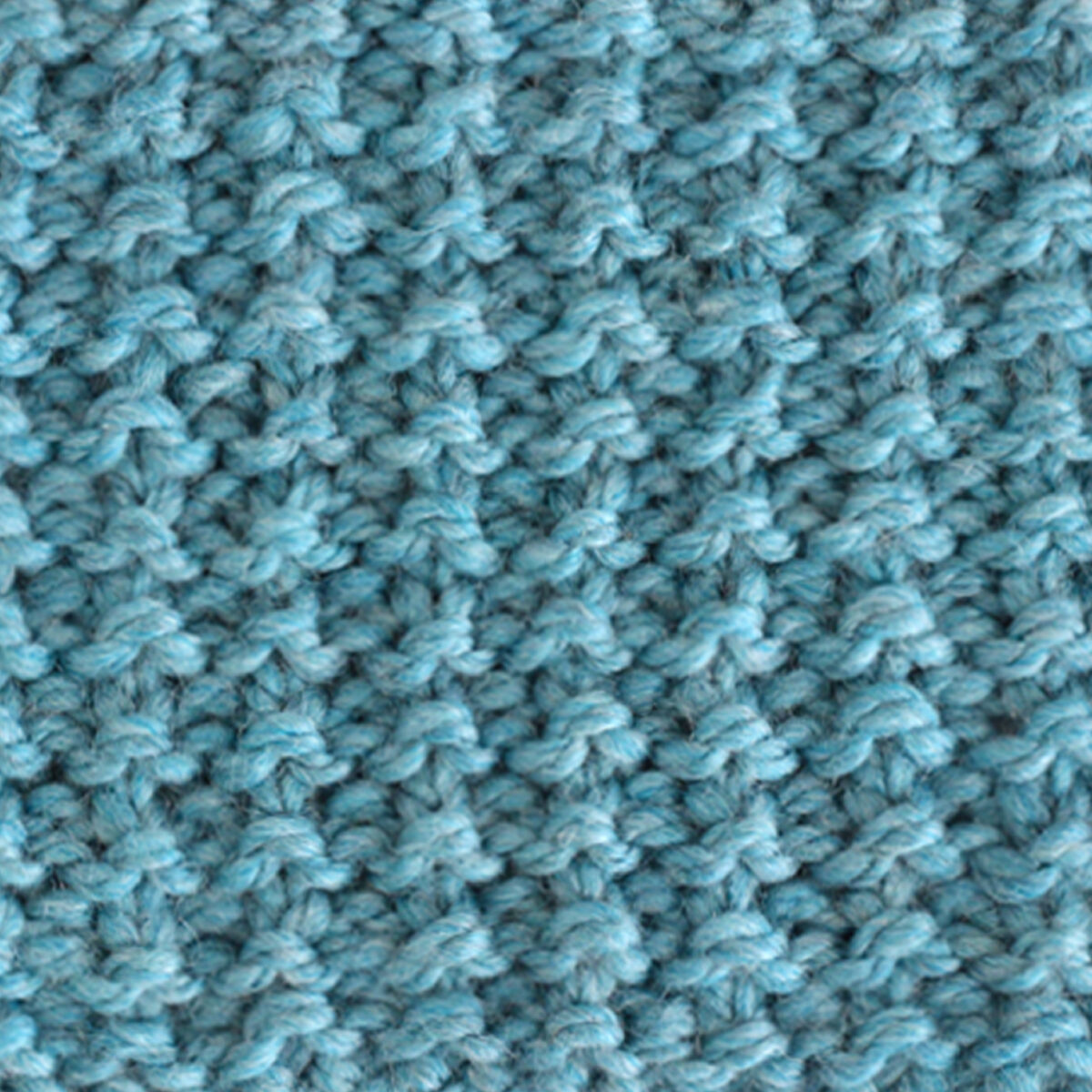 Sand Knit Stitch Pattern texture in blue yarn.