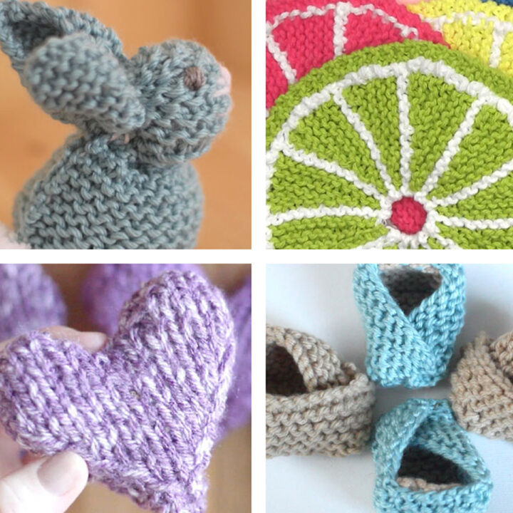 Knitted Heart, bunny, baby booties, and fruit dishcloths