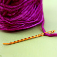 Tapestry Needle threaded with bright purple yarn atop a green background.