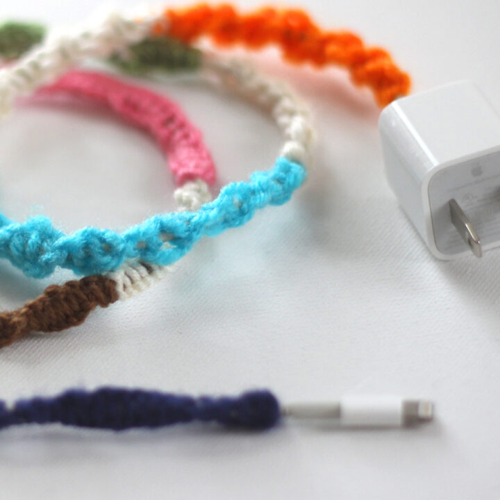Mobile Phone Cord wrapped with multi-colored yarn.