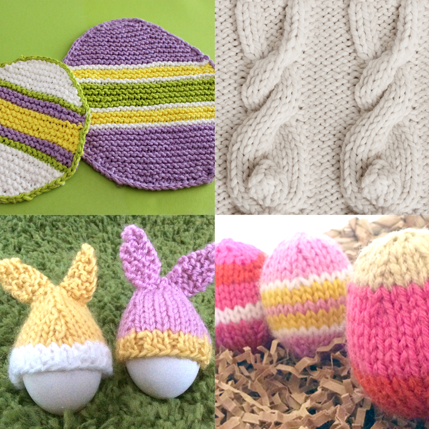 Easter Knitting Projects with Easter Egg Dishcloth, Cable Bunny Stitch, Bunny Ear Egg Cozies, and Egg Softies.