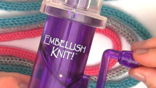 Embellish Knit tool above knitted i-cords held by a woman's hand.