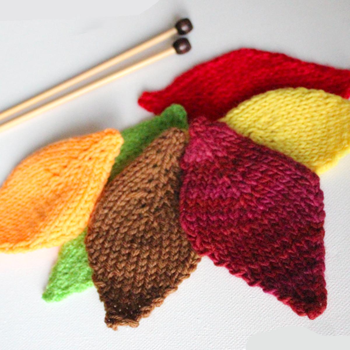 autumn leaves Knitting flowers