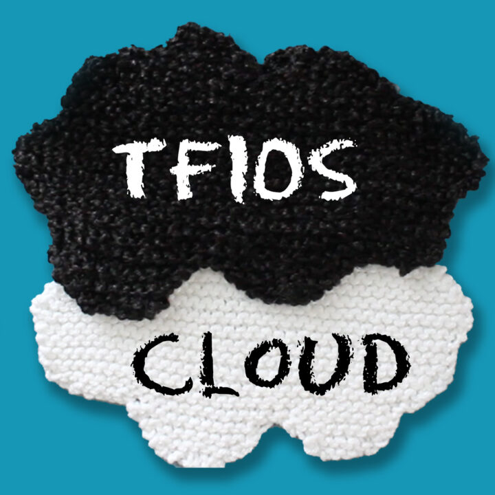 Knitted cloud shapes in black and white yarn colors.
