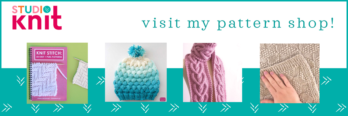 Studio Knit visit my pattern shop with knit stitch book, bubble beanie hat, heart cable scarf, and blanket.