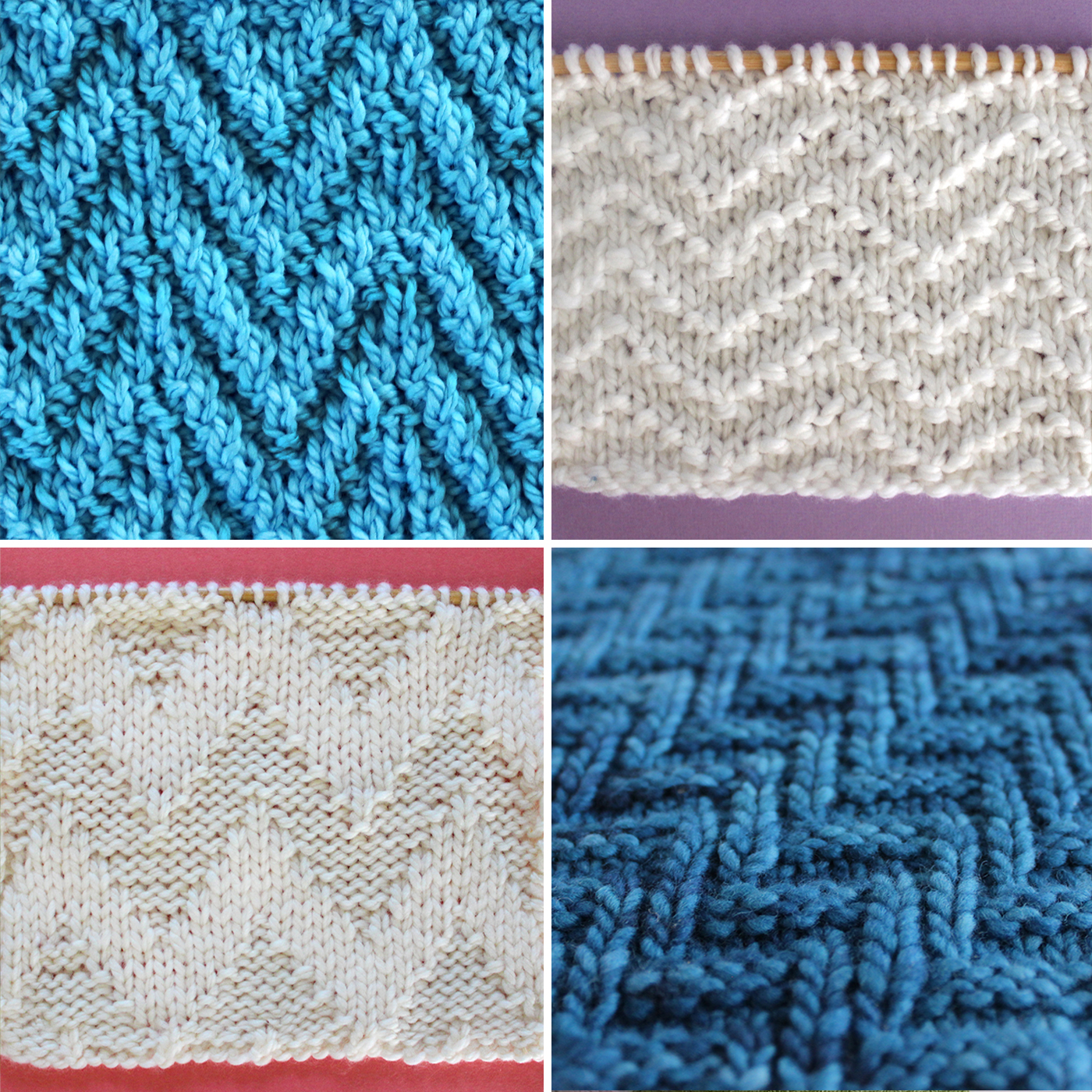 Swatch samples of four of chevron zigzag knit stitch textures in white and blue yarn colors.
