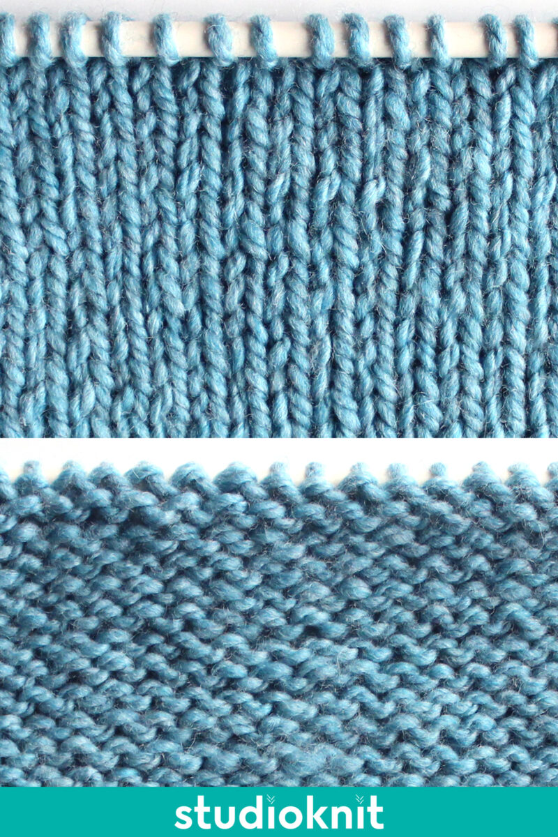 Stockinette Knit Stitch Pattern in blue color yarn on needle with right and wrong sides of the swatch.