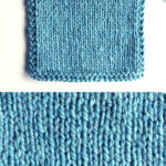 Stockinette Knit Stitch Pattern texture in blue color yarn on knitting needle.