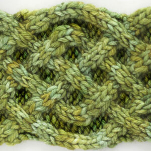 Knitted celtic cable stitch pattern in green yarn.