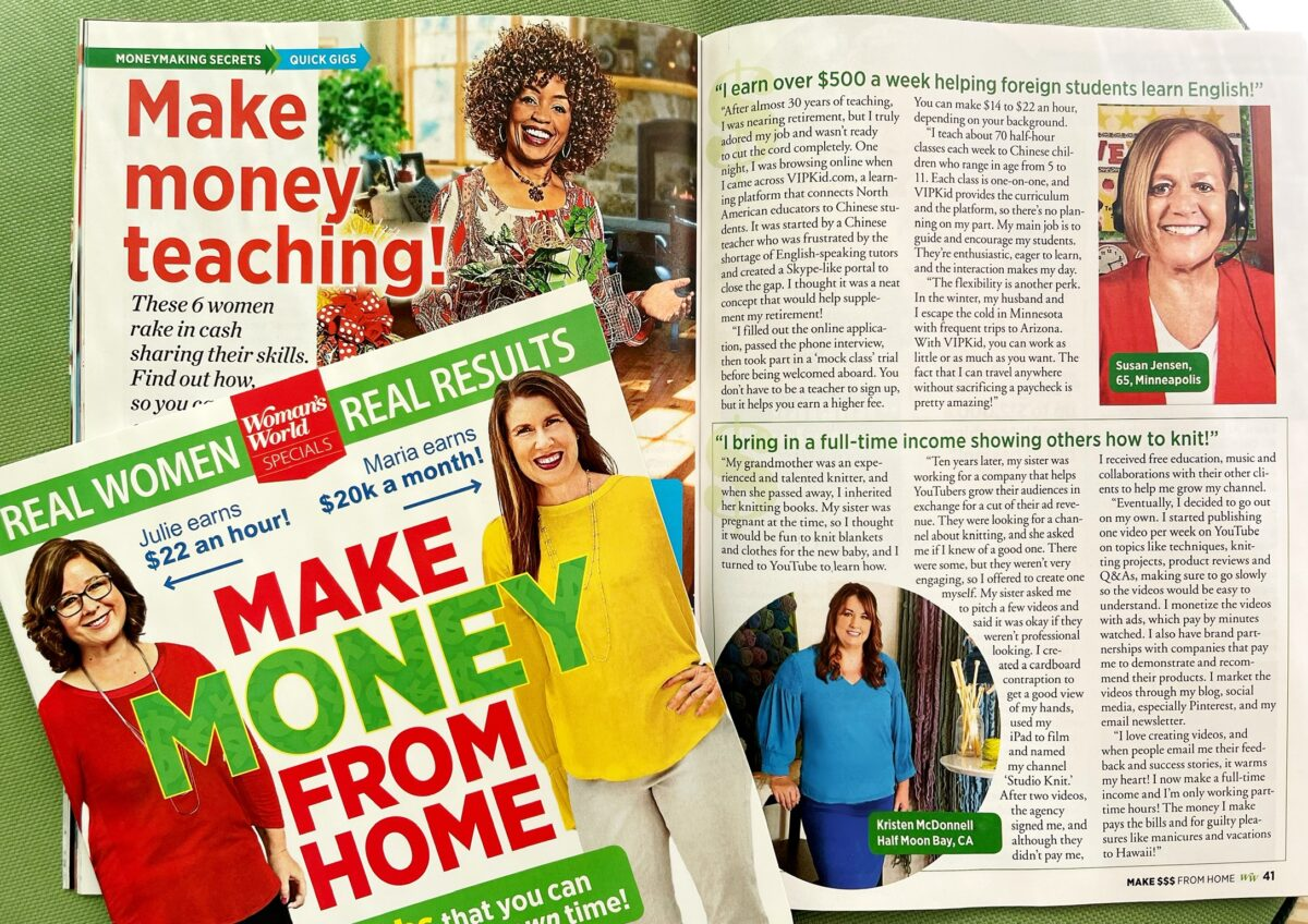 Women's World magazine featuring Kristen McDonnell from Studio Knit.