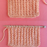 Broken Rib Stitch Knitting Pattern swatch on both the right and wrong sides on needle.