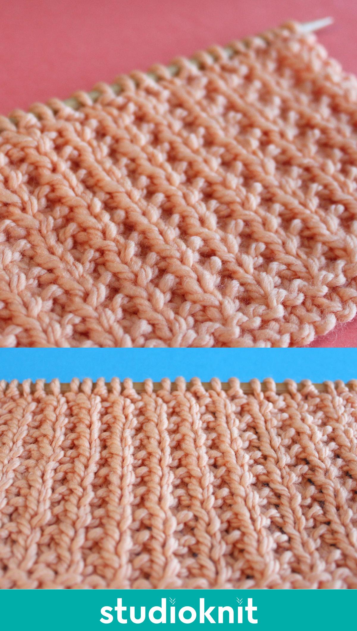 Two Close-ups of Broken Rib knitting swatch texture.