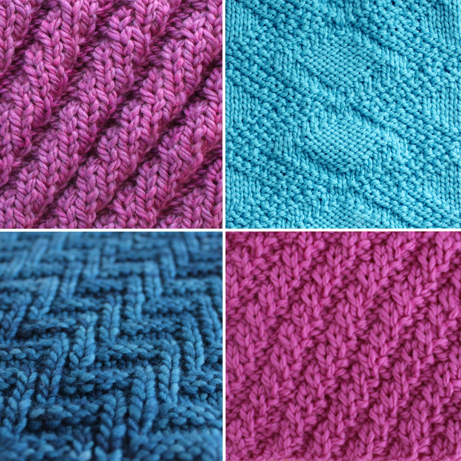 Collection of four diagonal knit stitch patterns in blue and purple yarn colors.