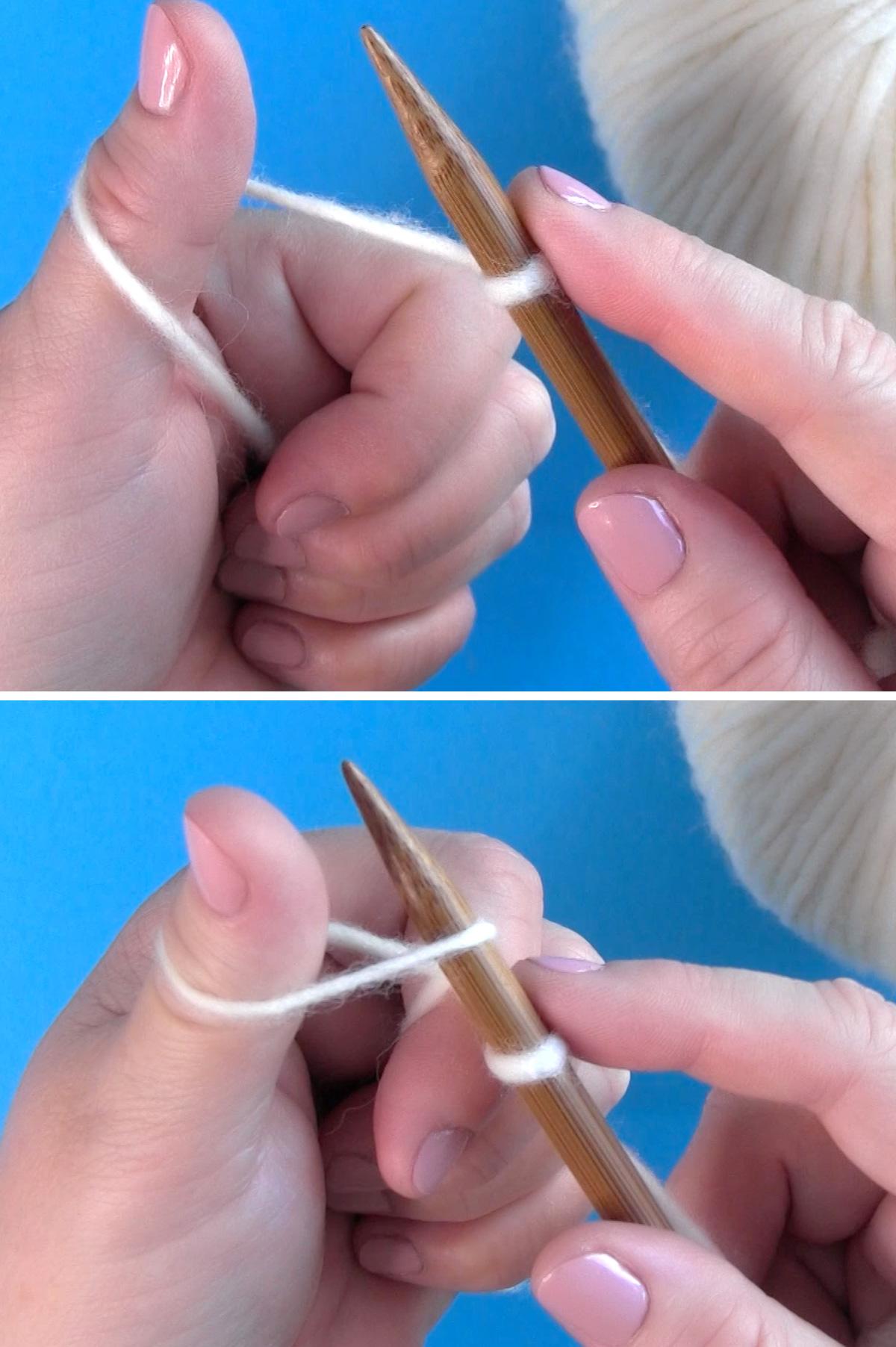 Insertar la punta de una aguja de tejer debajo del bucle del pulgar para recoger el hilo para montar los puntos.
