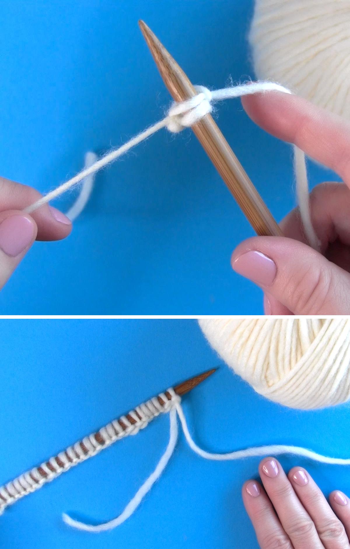Apretar el método Cast On Thumb del hilo alrededor de la aguja de tejer.