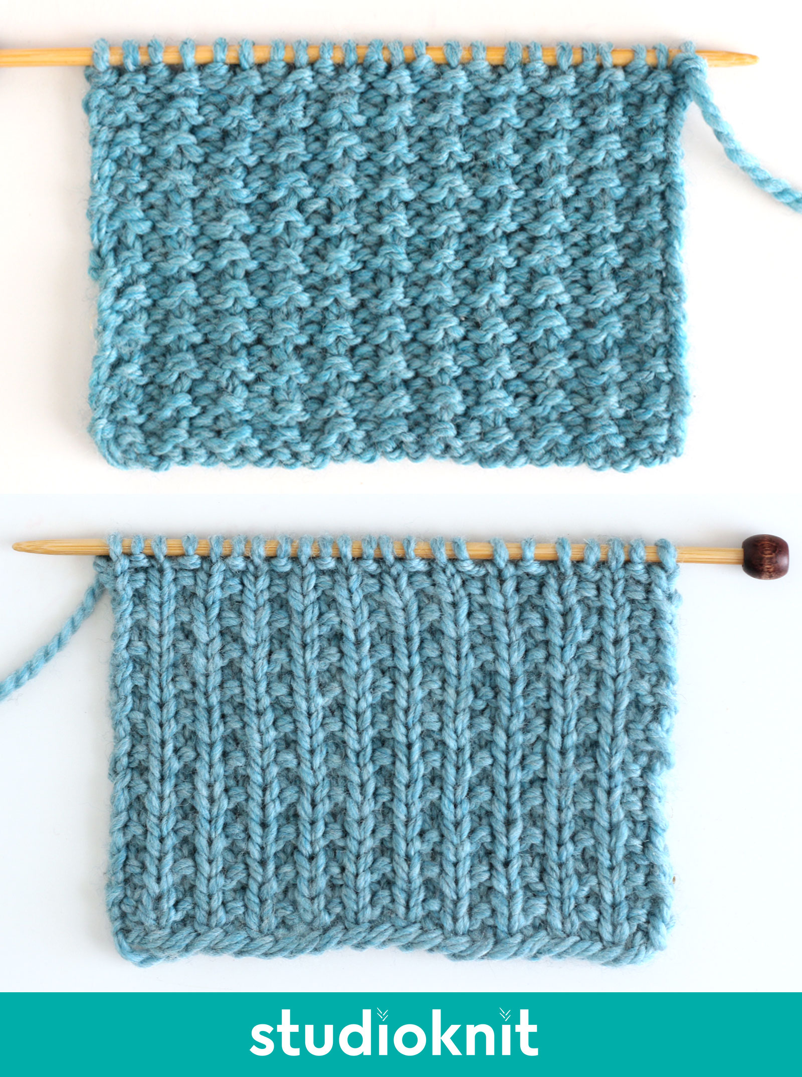 Sand Stitch Knitting Pattern both the right and wrong sides in blue yarn color.