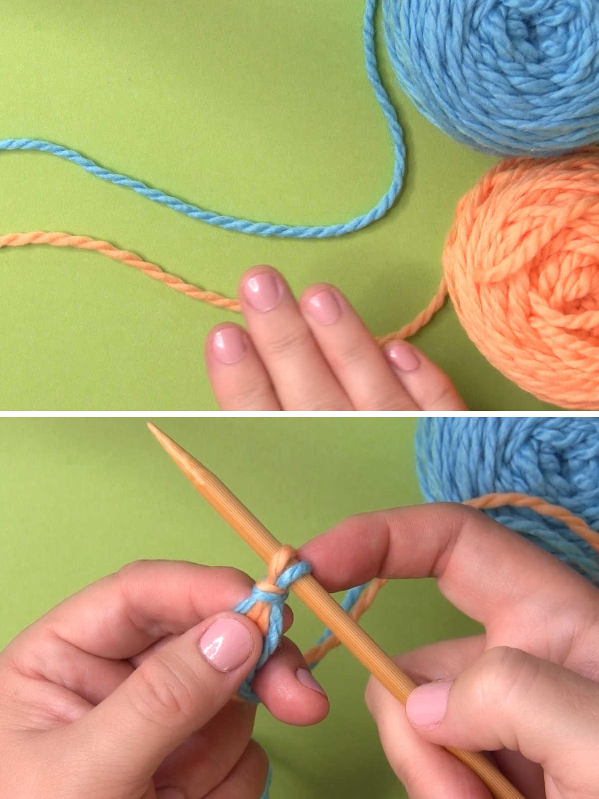 Hands casting on two yarn colors onto a knitting needle.