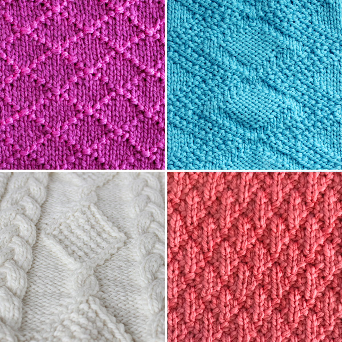 Collection of four diamond knit stitch patterns in pink, blue, and white yarn colors.