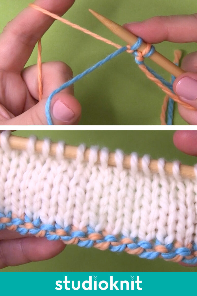 Hands demonstrating the 2-Color Cast On Corded Edge technique with yarn and knitting needles.
